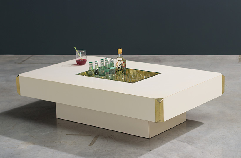 Willy Rizzo Alveo cream colored and brass Low Table 1970 img 7