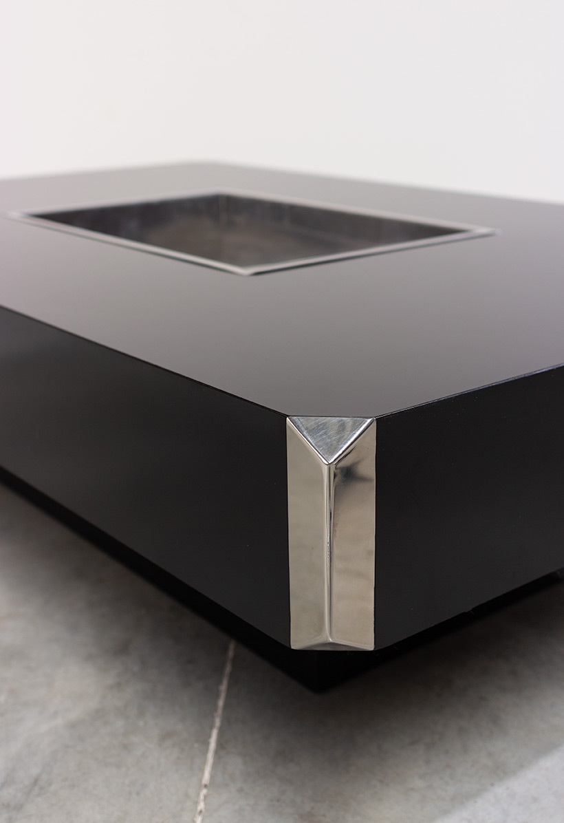 Willy Rizzo Black And Chrome Modern Low Table Alveo Circa 70