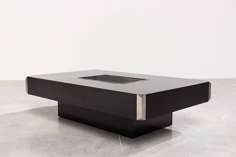Willy Rizzo black and chrome modern low table Alveo circa 70 img 7
