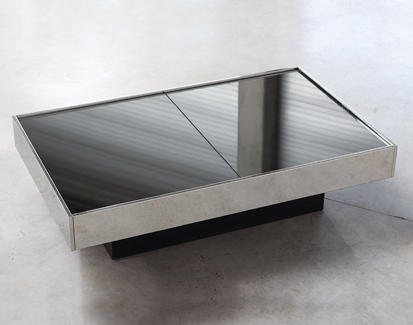 Willy Rizzo cocktail table or coffee table with dry bar Cidue 1970 img 6