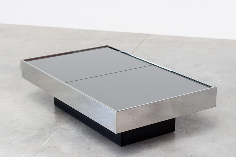 Willy Rizzo cocktail table or coffee table with dry bar Cidue 1970 img 7