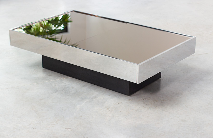 Willy Rizzo coffee table with dry bar Cidue 1970 img 10