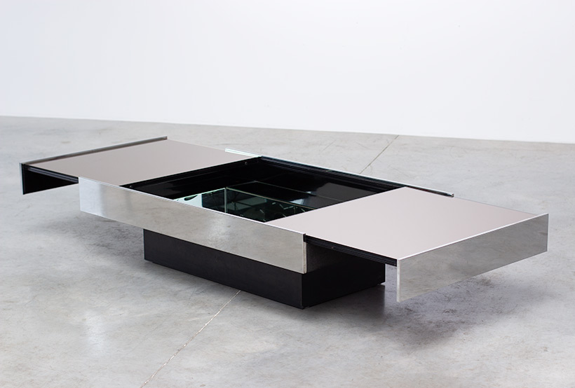 Willy Rizzo coffee table with dry bar Cidue 1970 img 3