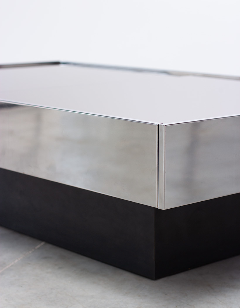Willy Rizzo coffee table with dry bar Cidue 1970 img 4
