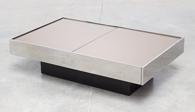 Willy Rizzo coffee table with dry bar Cidue 1970 img 5