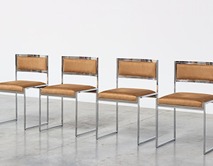 Willy Rizzo set of four cubistic dining chairs circa 1970