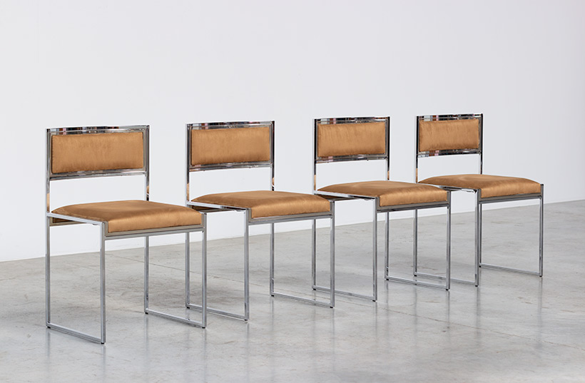 Willy Rizzo set of four cubistic dining chairs circa 1970 img 3