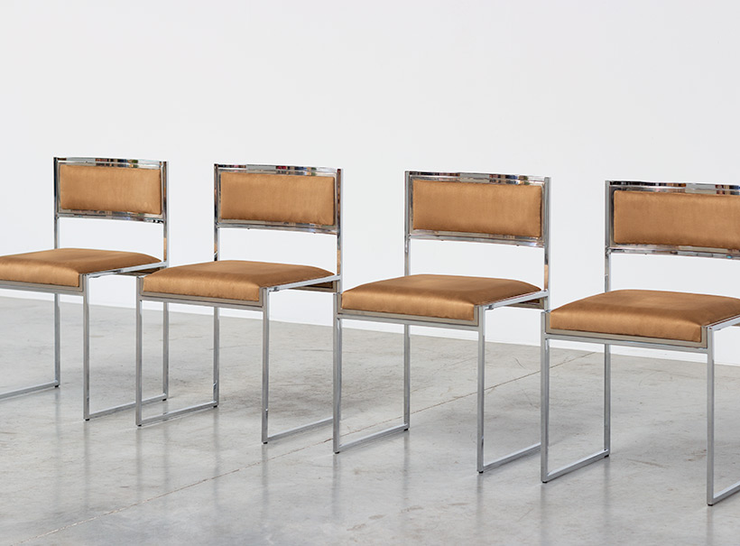 Willy Rizzo set of four cubistic dining chairs circa 1970 img 4
