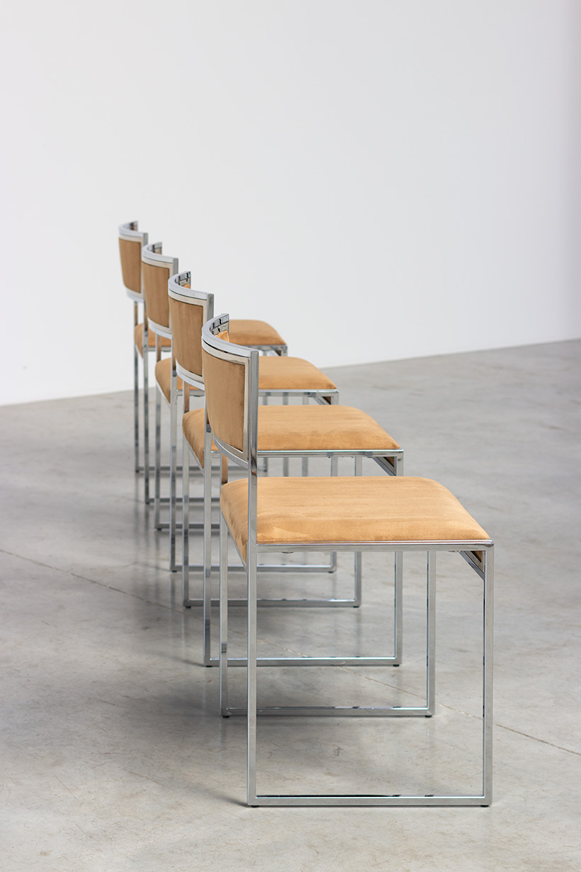 Willy Rizzo set of four cubistic dining chairs circa 1970 img 8