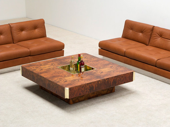 Willy Rizzo Square burl wood coffee cocktail table
