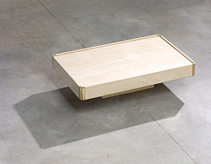 Willy Rizzo travertine and brass coffee table modernism 1970