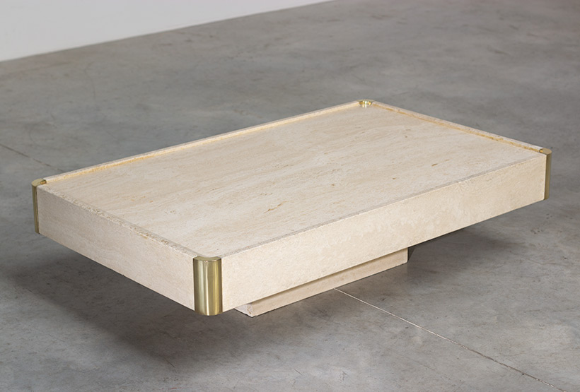 Willy Rizzo travertine and brass coffee table modernism 1970 img 3