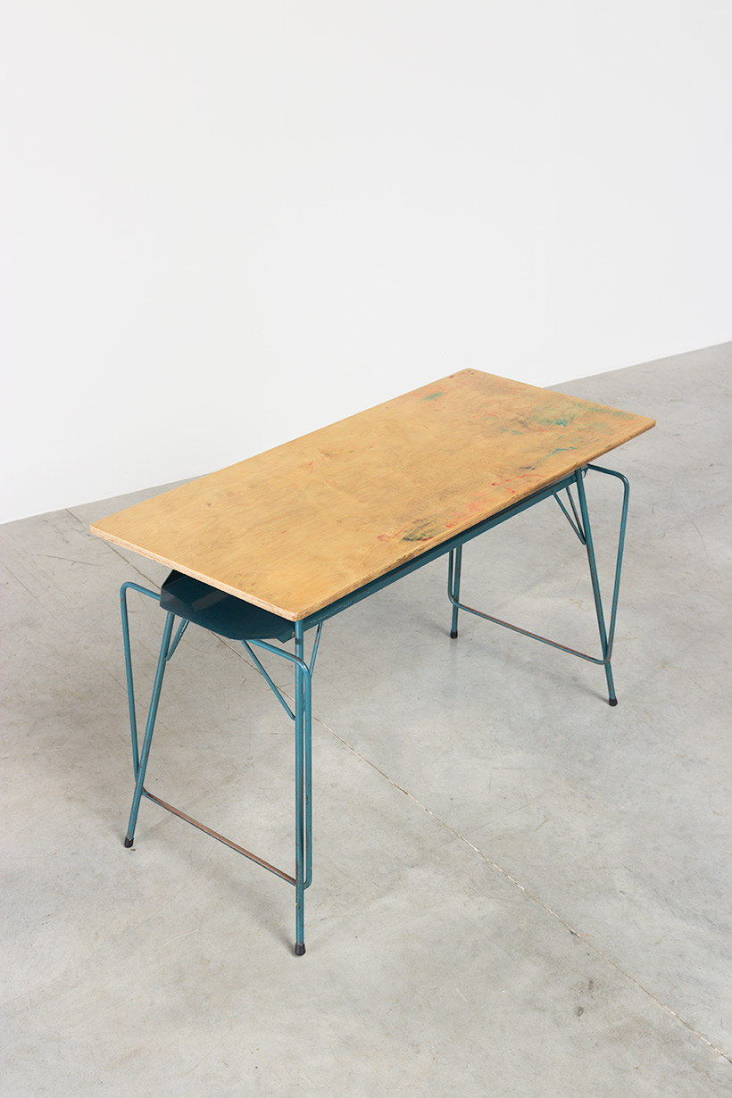 Willy Van Der Meeren blue desk writing table for Tubax