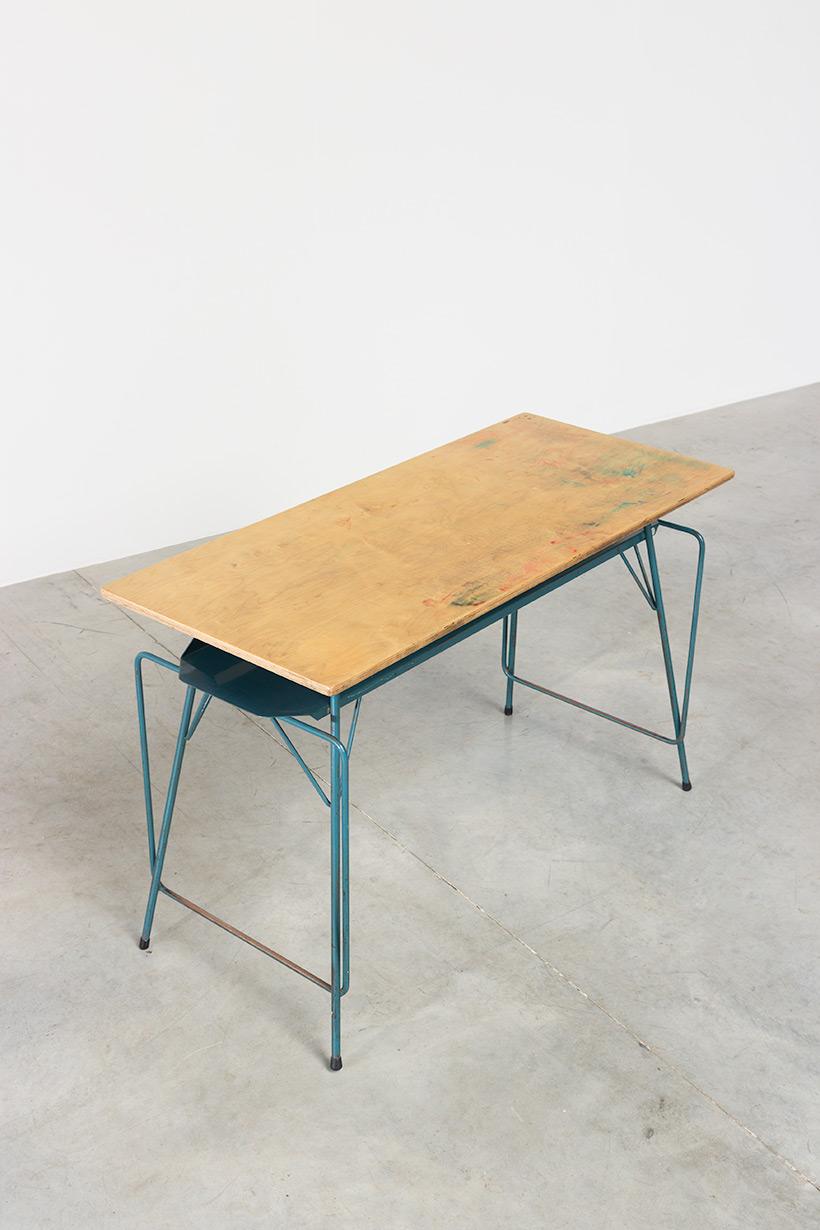 Willy Van Der Meeren blue desk writing table for Tubax