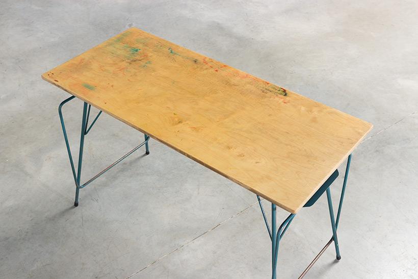 Willy Van Der Meeren blue desk writing table for Tubax img 4