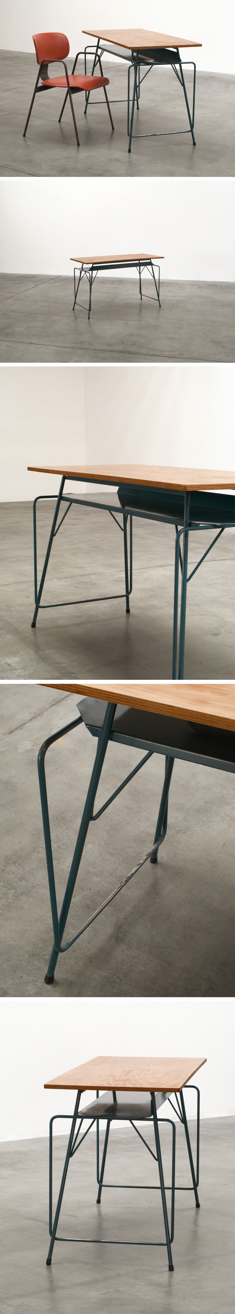 Willy Van Der Meeren blue writing table for Tubax Large