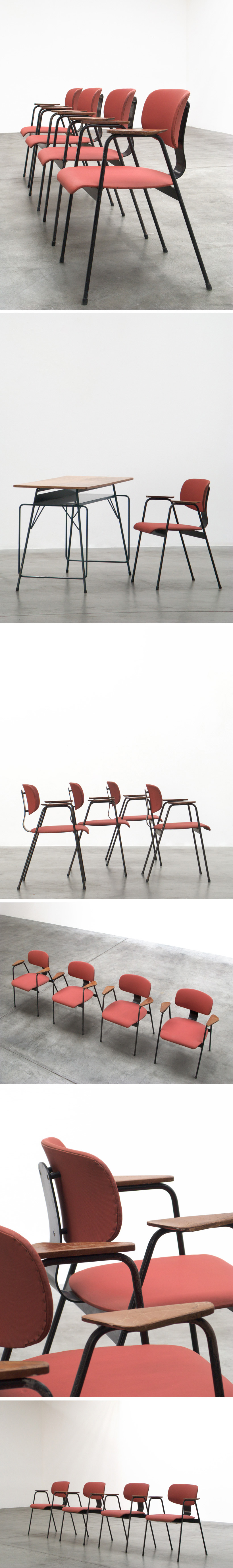 Willy Van Der Meeren F2 4 Dinning chairs Large
