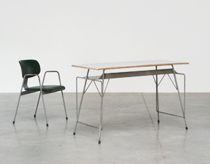 Willy Van Der Meeren grey writing table and F2 chair for Tubax
