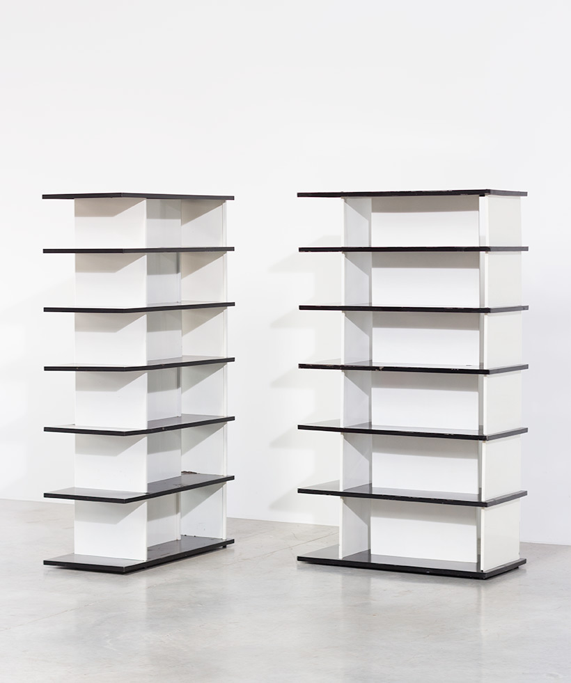 Wim Rietveld pair bookcases shelving units room divider for De Bijenkorf