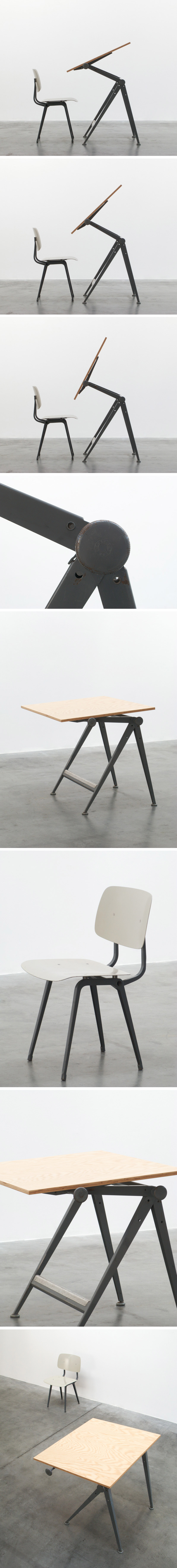 Wim Rietveld Reply drafting table and Friso Kramer Revolt chair Large
