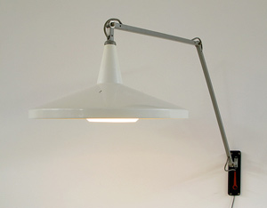 Wim Rietveld White Panama industrial swing lamp