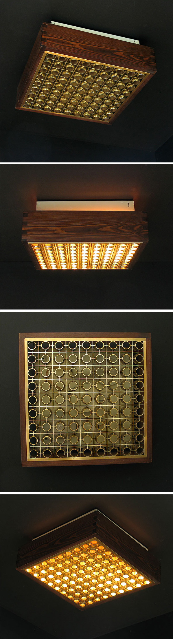 Wooden ceiling lamp illuminated behind grating Wabbes Large