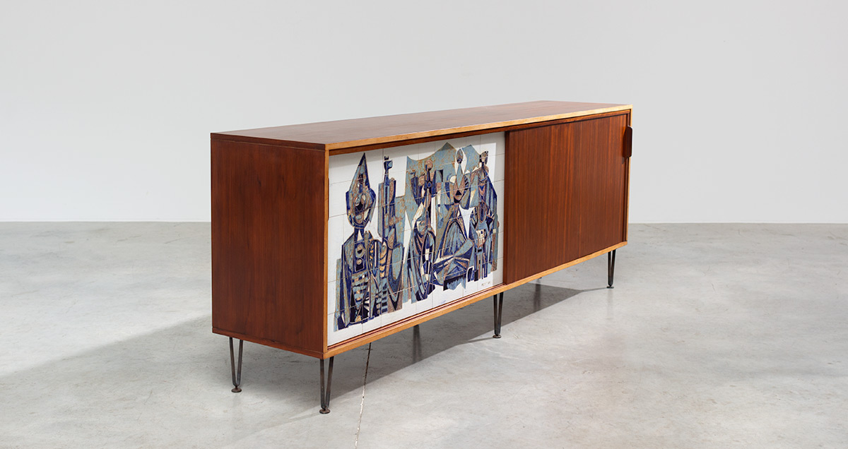 Large sideboard model nr. 308 designed by Alfred Hendrickx for Belform with sliding door in Unique Ceramic illustration by Willy Meysmans.