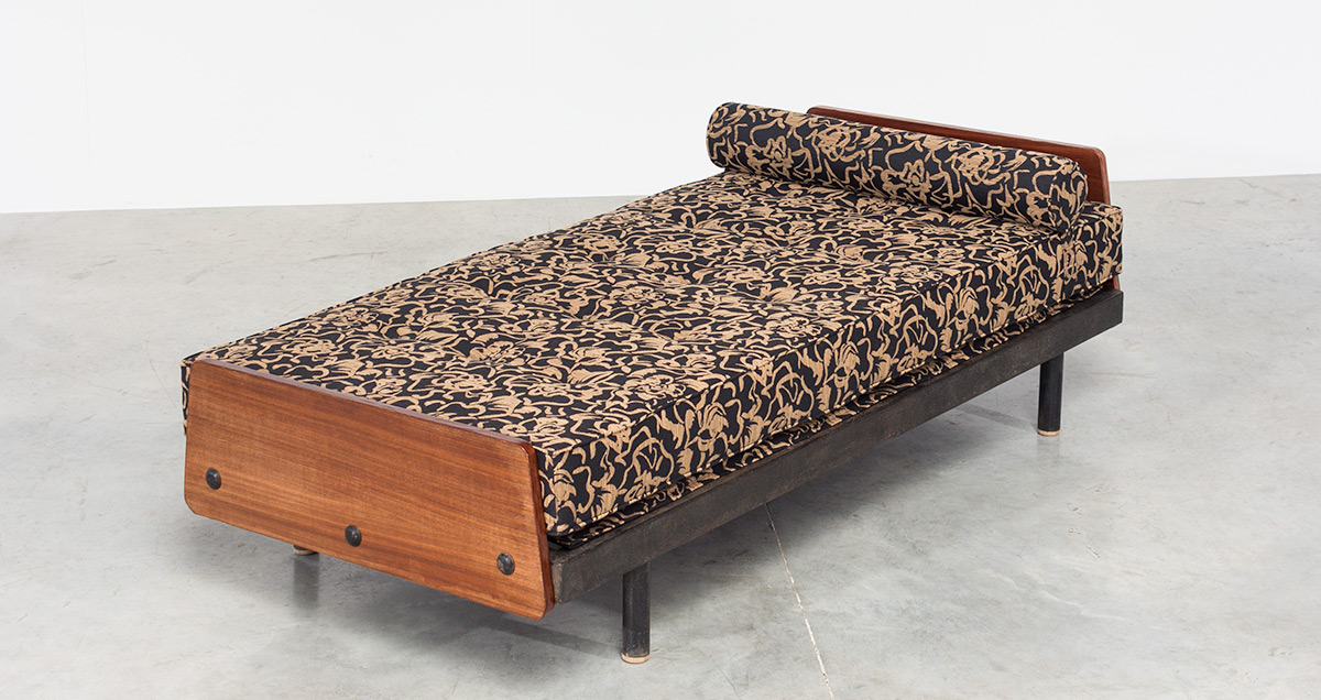 Daybed model S.C.A.L. Designed by Jean Prouvé from Cité Cansado, Mauritania, Africa. Circa 1958.