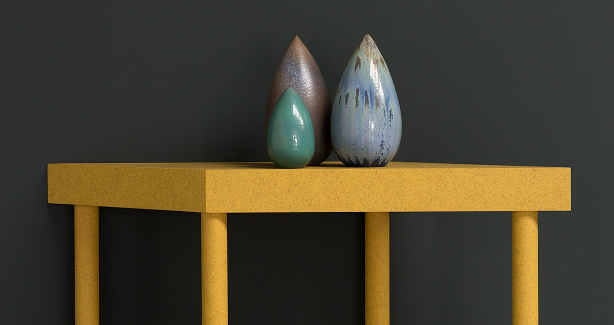 Organic vase designed by Antonio Lampecco, mixed metal oxidized vase in different blue tones.