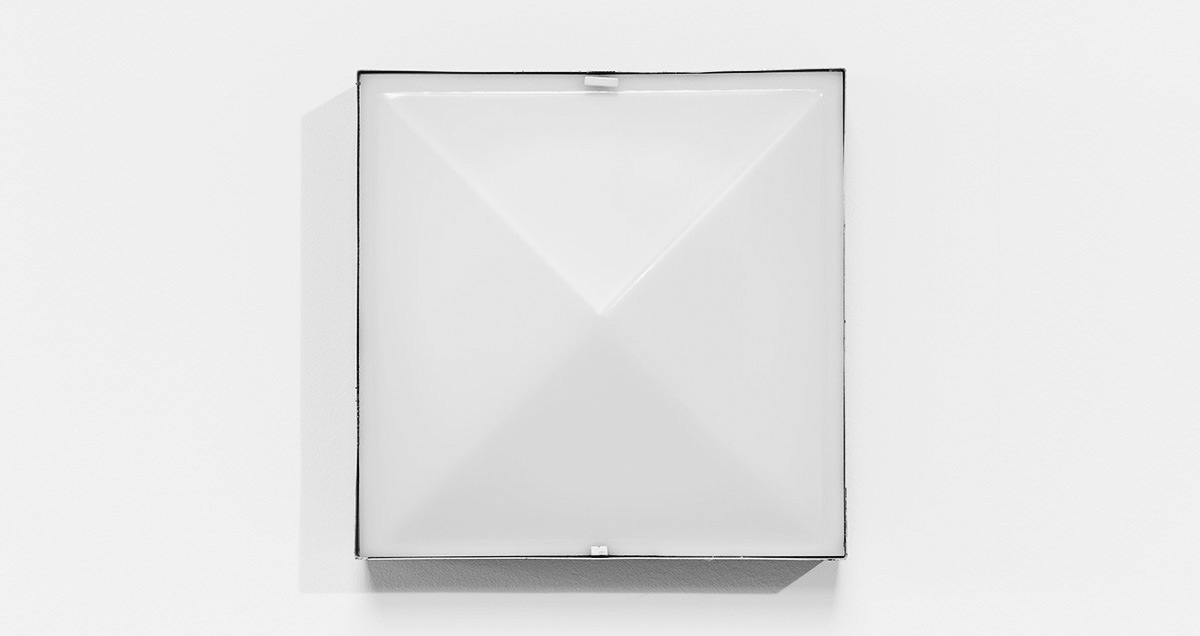 Industrial ceiling lamp by Raak Amsterdam. Black minimalist square metal structure and plexiglass pyramid diffuser.
