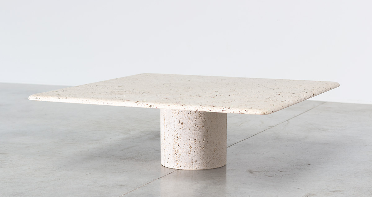 Coffee table by UP&UP, circa 1970. Mid-Century Modern round travertine pedestal with square travertine table top.