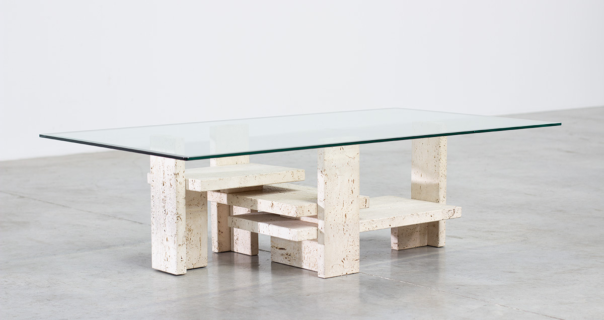 Coffee table designed by Willy Ballez. Circa 1970 Belgium. Travertine sculptural base with rectangular glass top.