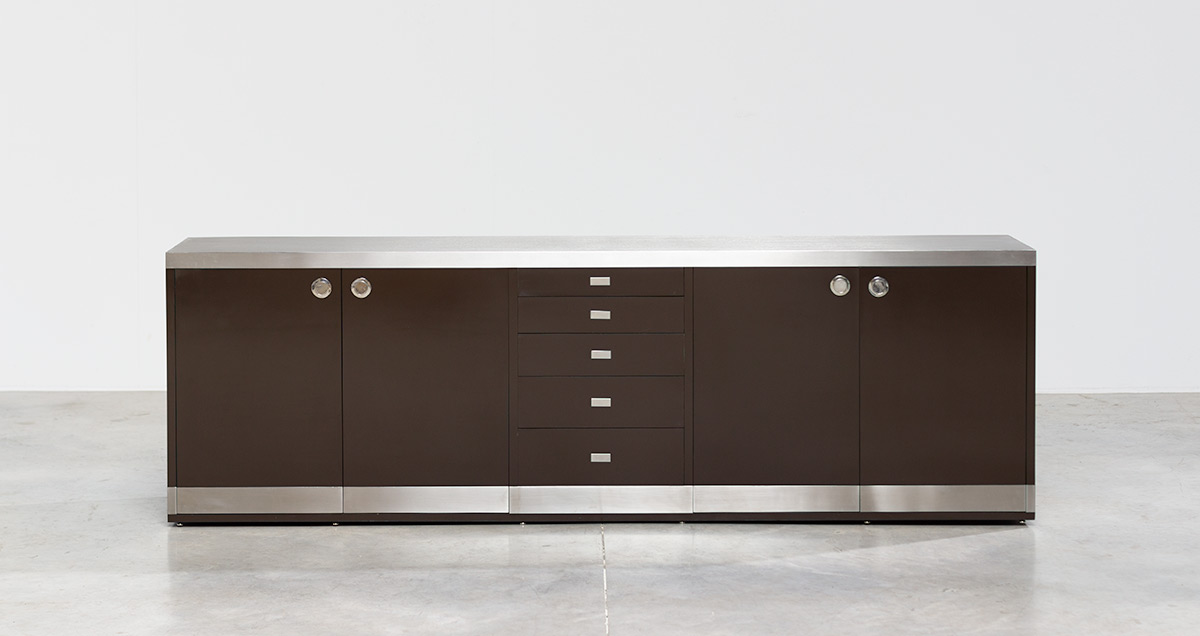 Sideboard designed by Willy Rizzo, circa 1970. Chocolate brown Formica laminated.